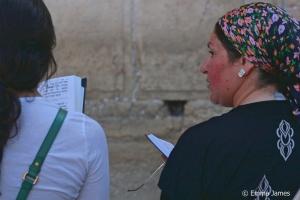 Women praying at the Western Wall in Jerusalem